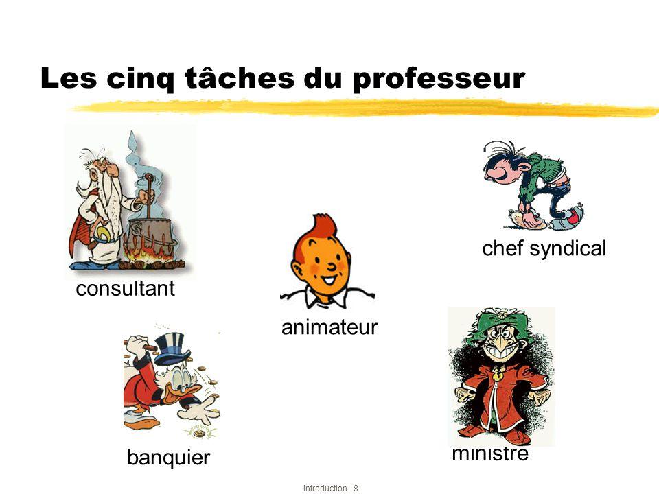 introduction - 8 Les cinq tâches du professeur ministre banquier consultant animateur chef syndical