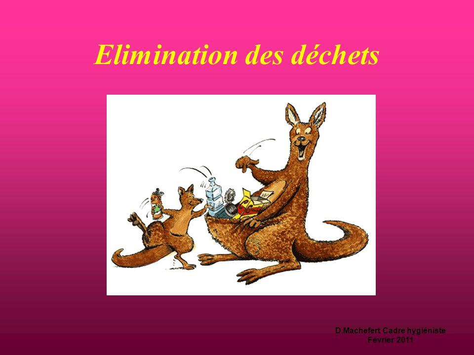 D.Machefert Cadre hygiéniste Février 2011  Déchets  Tri sélectif et conditionnement à l'issue de la production avec distinction des déchets d'activité de soins à risque infectieux (DASRI) et des déchets assimilables aux ordures ménagères (DAOM).