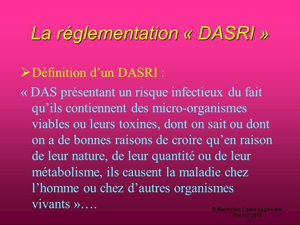 D.Machefert Cadre hygiéniste Février 2011 La réglementation « DASRI »  Définition d'un DAS  Définition d'un DAS (déchet d 'activité de soins) : « dé