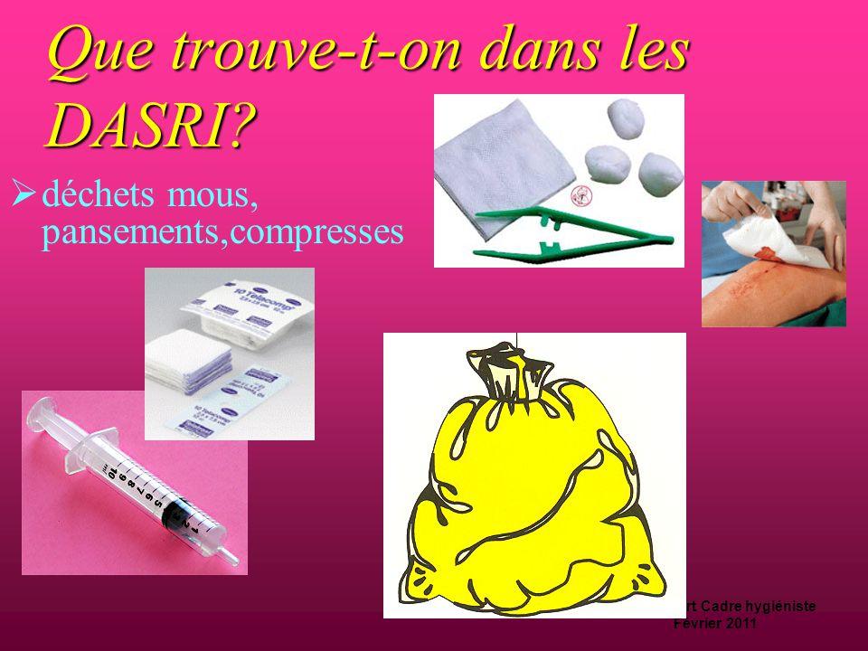 D.Machefert Cadre hygiéniste Février 2011 Que trouve-t-on dans les déchets spéciaux?  Piles, accus
