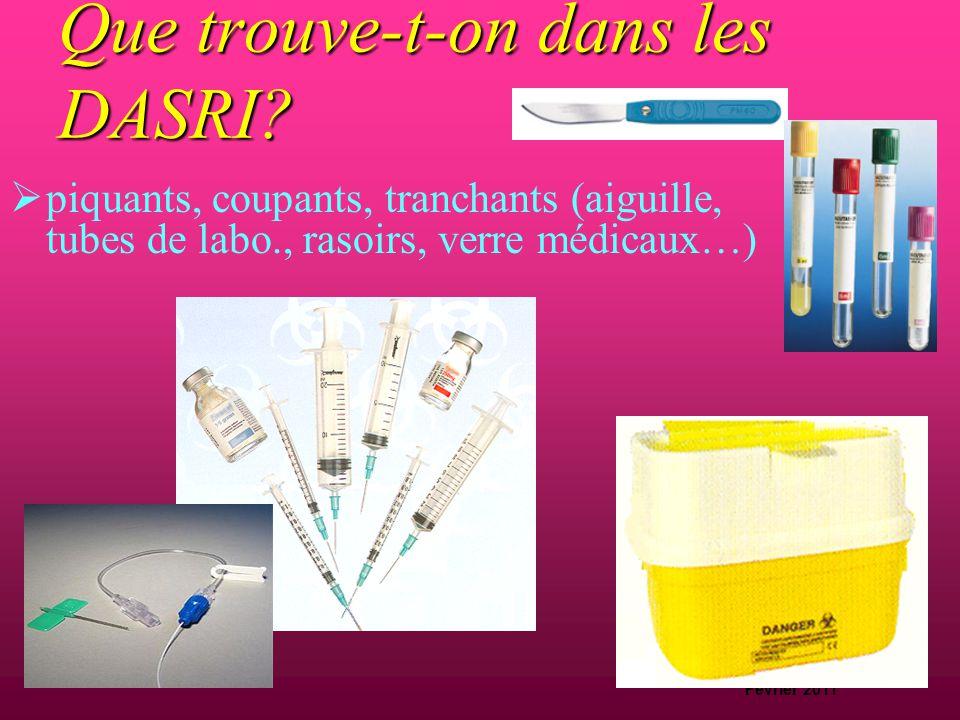D.Machefert Cadre hygiéniste Février 2011 Que trouve-t-on dans les DASRI?  déchets mous, pansements,compresses