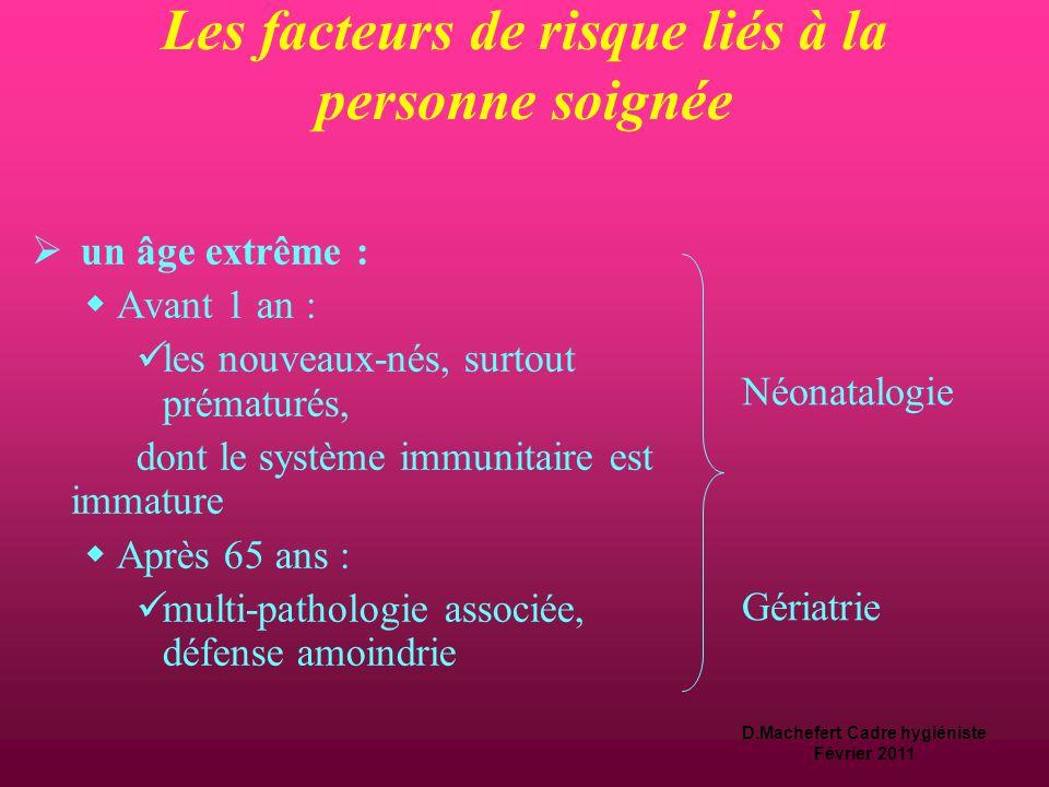 D.Machefert Cadre hygiéniste Février 2011 Les facteurs de risque liés à la personne soignée  une pathologie chronique :  diabète, insuffisance rénal