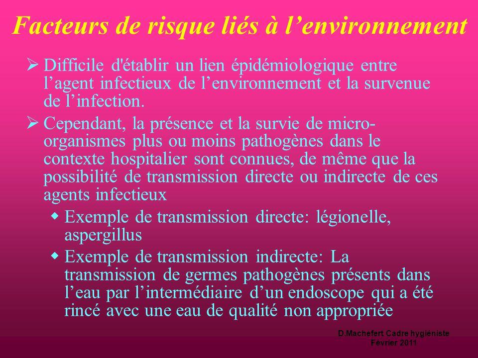 D.Machefert Cadre hygiéniste Février 2011 Classement des dispositifs médicaux et niveau de traitement requis  Le degré de risque identifié détermine