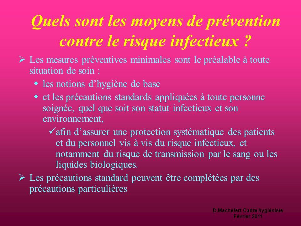 D.Machefert Cadre hygiéniste Février 2011 Que faut-il faire pour lutter contre le risque infectieux .