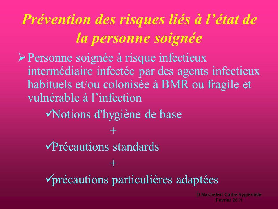 D.Machefert Cadre hygiéniste Février 2011 Prévention des risques liés à l'état de la personne soignée  Personne soignée sans facteur de risque infectieux identifié :  Notions d hygiène de base +  Précautions standards