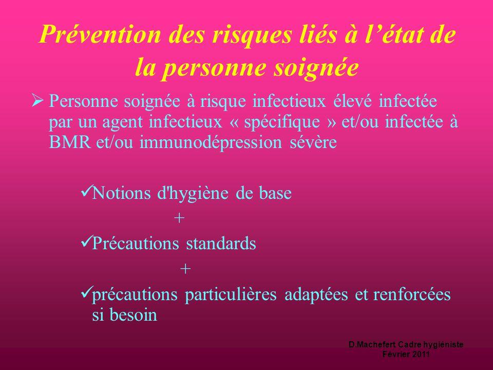 D.Machefert Cadre hygiéniste Février 2011 Prévention des risques liés à l'état de la personne soignée  Personne soignée à risque infectieux intermédi