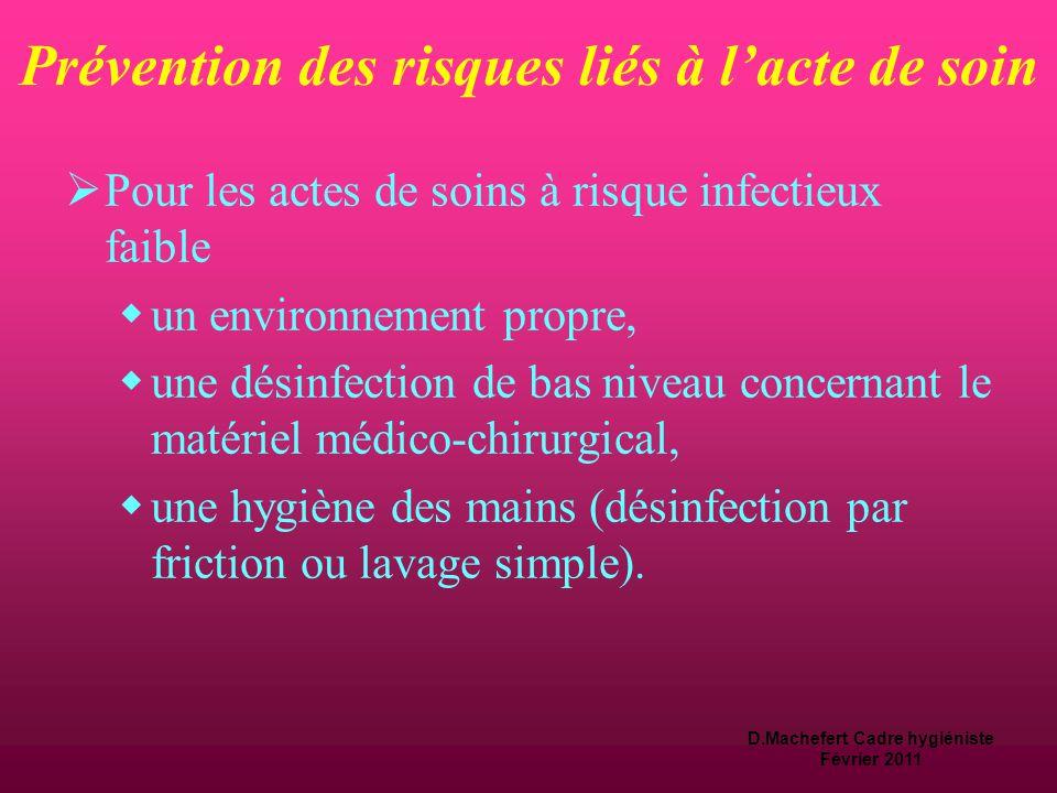 D.Machefert Cadre hygiéniste Février 2011 Prévention des risques liés à l'acte de soin  Des exigences générales d'asepsie sont définies en fonction du degré de risque infectieux lié à l'acte de soin.