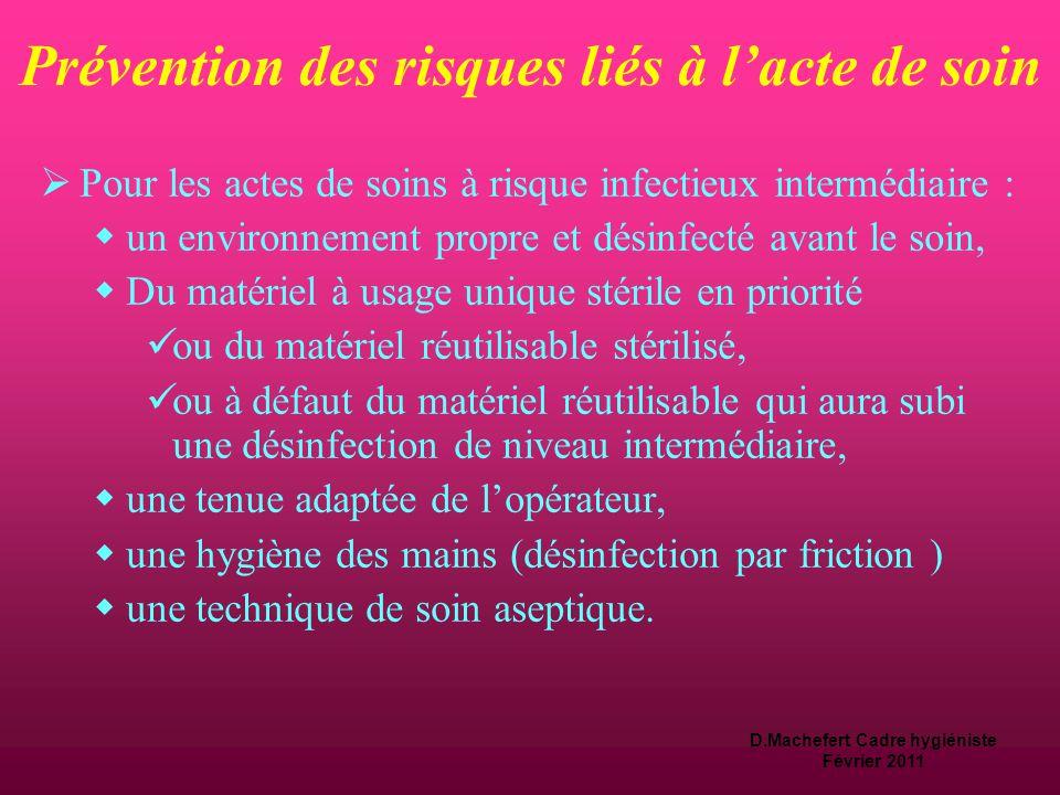 D.Machefert Cadre hygiéniste Février 2011 Prévention des risques liés à l'acte de soin  Pour les actes de soins à risque infectieux faible  un envir