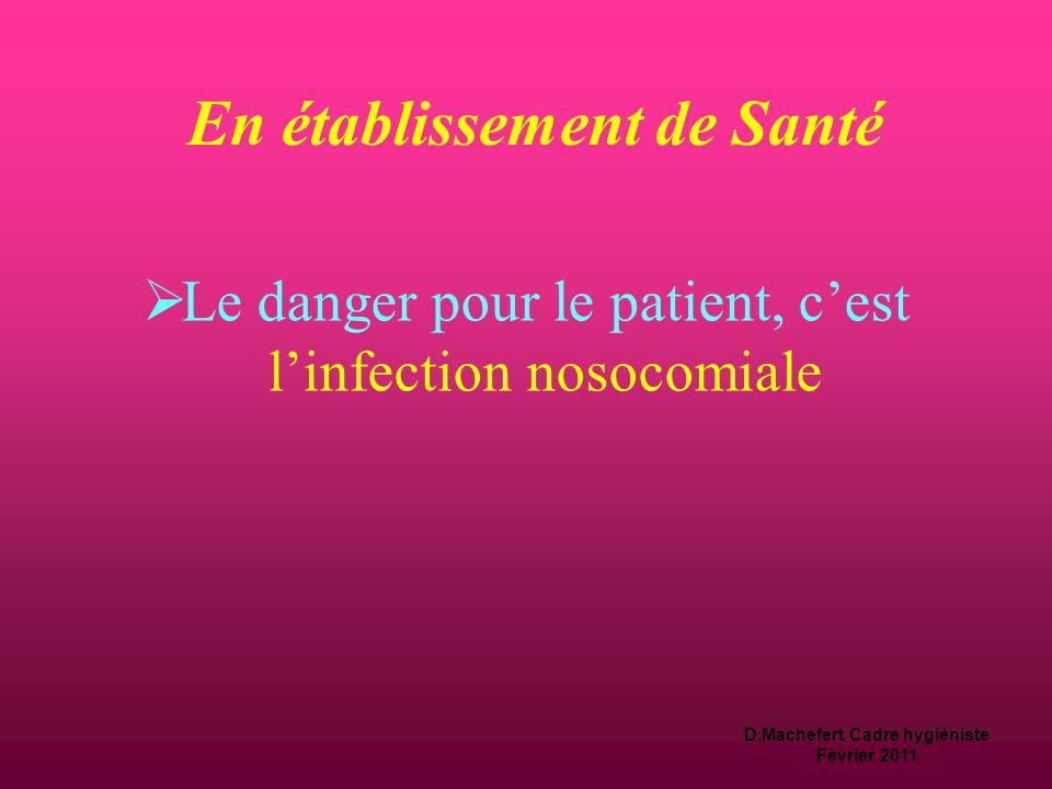 D.Machefert Cadre hygiéniste Février 2011 Définition du DANGER  Source ou situation pouvant  nuire par blessure  ou atteindre la santé,  ou être c