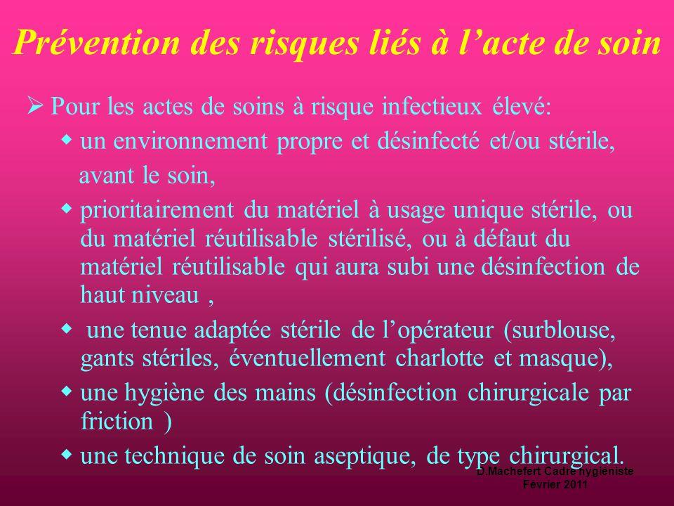D.Machefert Cadre hygiéniste Février 2011 Prévention des risques liés à l'acte de soin  Pour les actes de soins à risque infectieux intermédiaire : 
