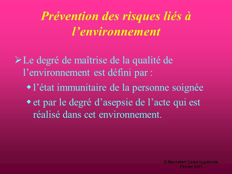 D.Machefert Cadre hygiéniste Février 2011 Prévention des risques liés à l'acte de soin  Pour les actes de soins à risque infectieux élevé:  un envir