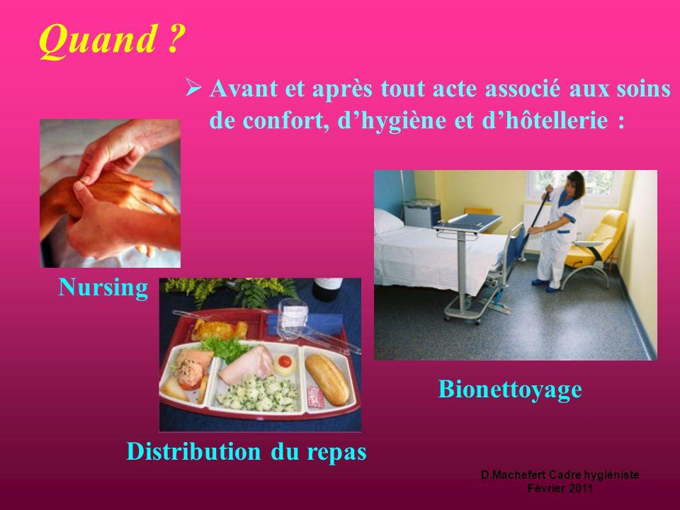 D.Machefert Cadre hygiéniste Février 2011 Quand ?  La désinfection des mains  À appliquer dans toutes situations de soins.  Elle doit être adaptée