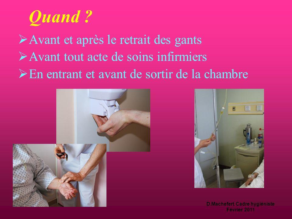 D.Machefert Cadre hygiéniste Février 2011 Quand ?  Avant et après tout acte associé aux soins de confort, d'hygiène et d'hôtellerie : Nursing Distrib