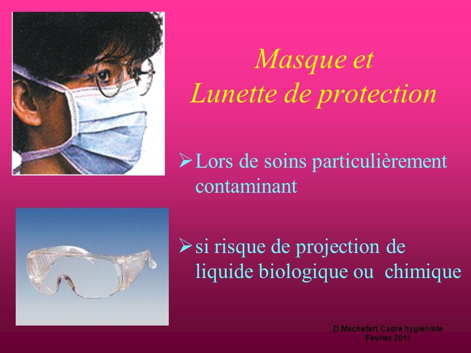 D.Machefert Cadre hygiéniste Février 2011 Surblouse ou Tablier  Lors de soins particulièrement contaminant  si risque de projection de liquide biologique ou chimique