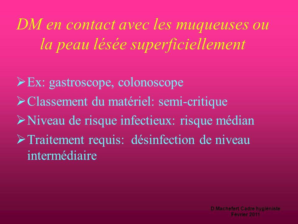 D.Machefert Cadre hygiéniste Février 2011 Niveau de risque infectieux  Le matériel médico–chirurgical contaminé par les germes du patient doit subir