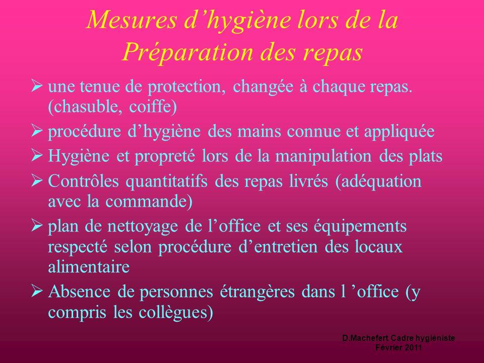 D.Machefert Cadre hygiéniste Février 2011 La préparation du repas  Le personnel est dédié à cette activité  Il est formé et respecte des mesures d'hygiène spécifiques