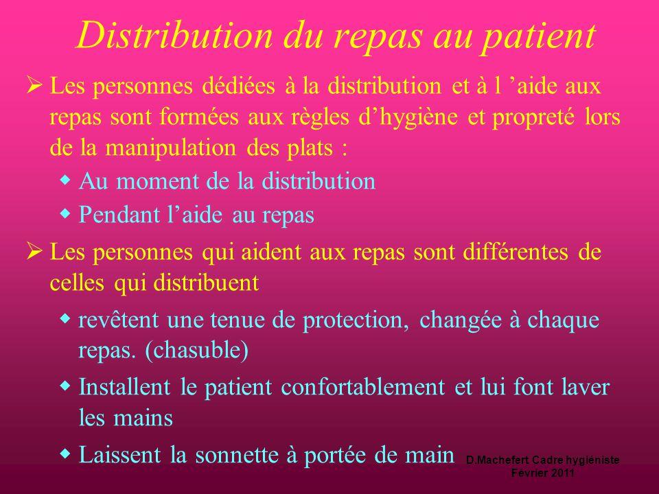 D.Machefert Cadre hygiéniste Février 2011 La distribution des repas  Points à maîtriser :  Hygiène et propreté lors de la manipulation des plats: 