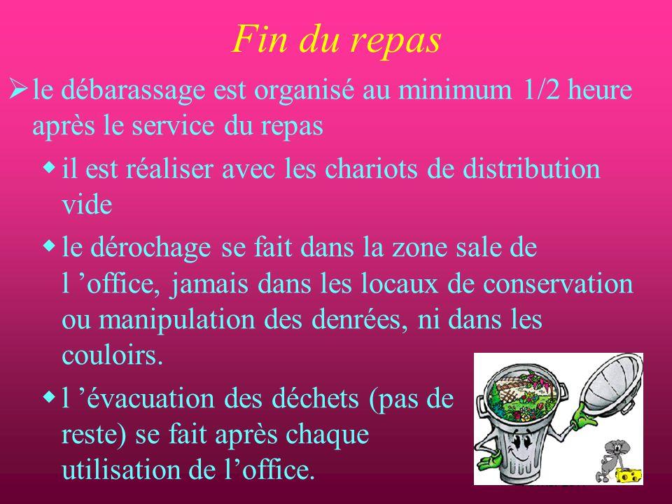 D.Machefert Cadre hygiéniste Février 2011 Fin du repas  Le suivi de la prise de repas est organisé :  quantité consommée  traçabilité dans le dossi