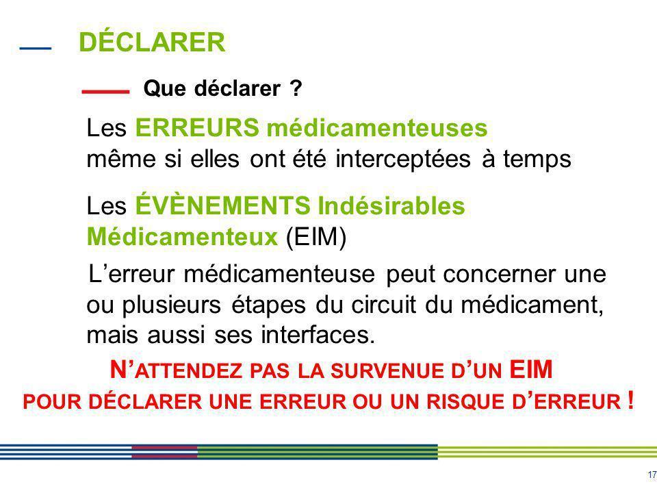 17 DÉCLARER Les ERREURS médicamenteuses même si elles ont été interceptées à temps Les ÉVÈNEMENTS Indésirables Médicamenteux (EIM) L'erreur médicament