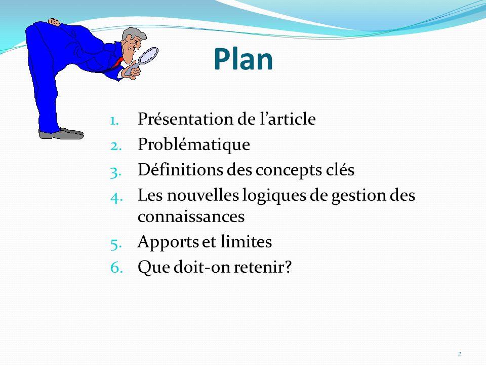 Plan 1.Présentation de l'article 2. Problématique 3.
