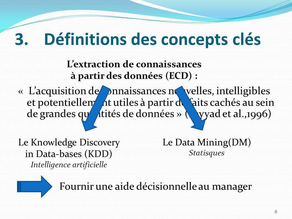 3.Définitions des concepts clés « L'acquisition de connaissances nouvelles, intelligibles et potentiellement utiles à partir de faits cachés au sein de grandes quantités de données » (Fayyad et al.,1996) 6 L'extraction de connaissances à partir des données (ECD) : Le Knowledge Discovery in Data-bases (KDD) Intelligence artificielle Le Data Mining(DM) Statisques Fournir une aide décisionnelle au manager