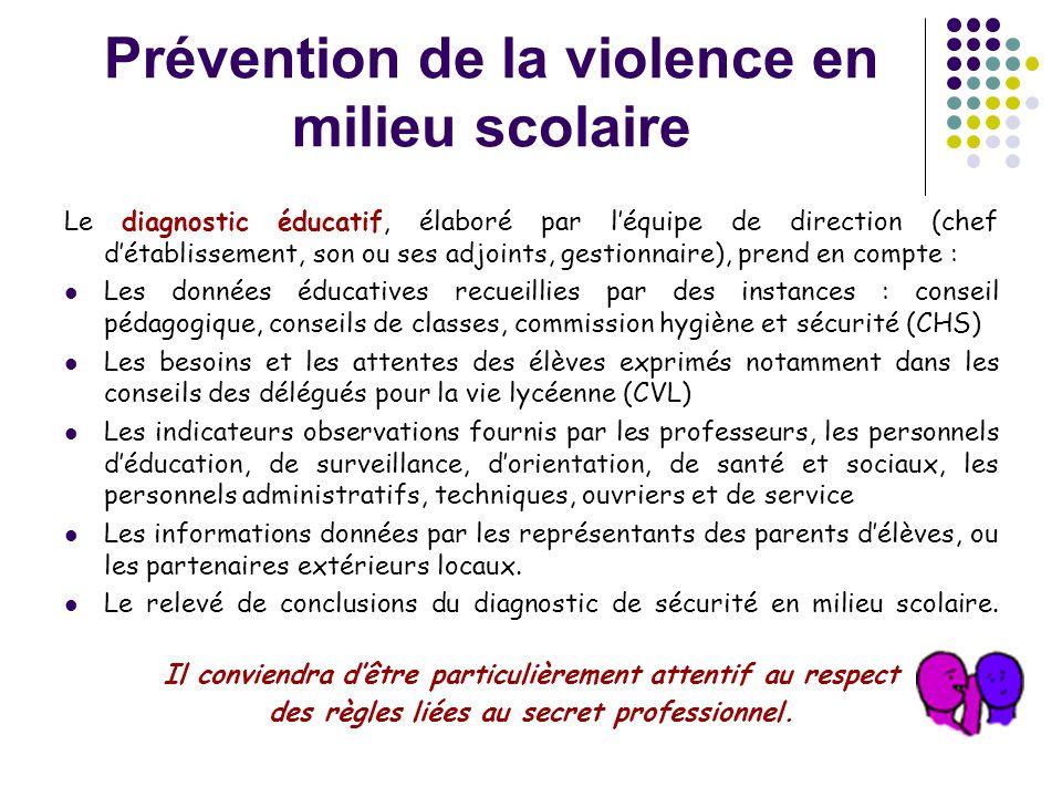 Prévention de la violence en milieu scolaire Le diagnostic éducatif, élaboré par l'équipe de direction (chef d'établissement, son ou ses adjoints, ges