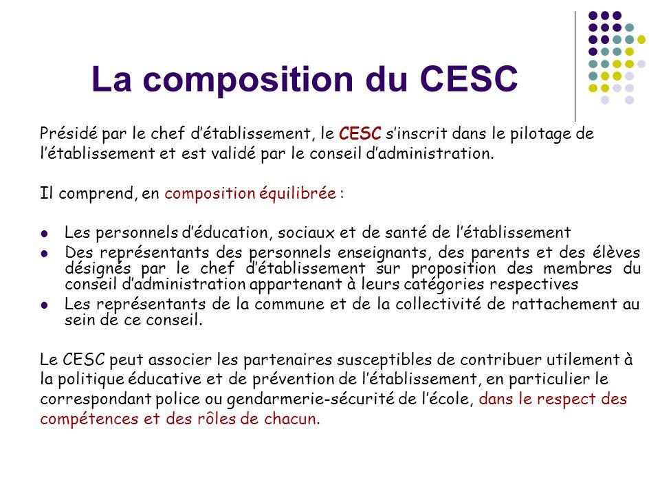La composition du CESC Présidé par le chef d'établissement, le CESC s'inscrit dans le pilotage de l'établissement et est validé par le conseil d'admin
