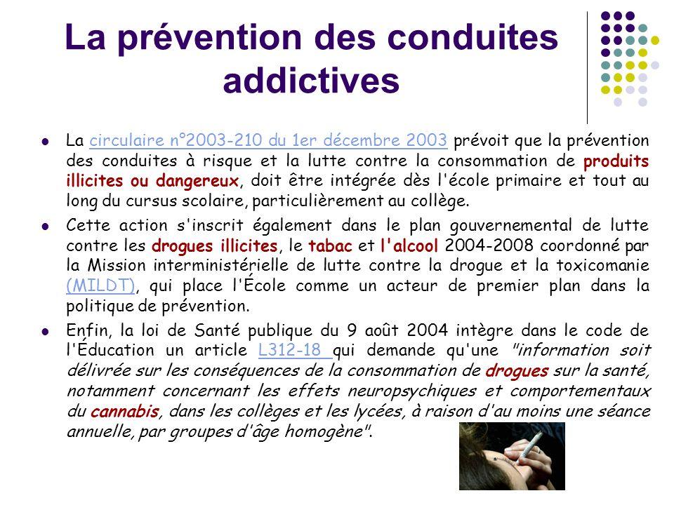 La prévention des conduites addictives  La circulaire n°2003-210 du 1er décembre 2003 prévoit que la prévention des conduites à risque et la lutte co