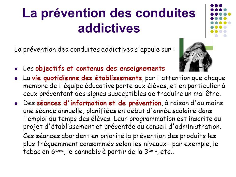 La prévention des conduites addictives La prévention des conduites addictives s'appuie sur :  Les objectifs et contenus des enseignements  La vie qu