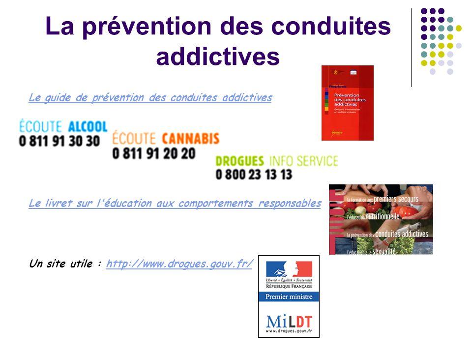 La prévention des conduites addictives Le guide de prévention des conduites addictives Le livret sur l'éducation aux comportements responsables Un sit