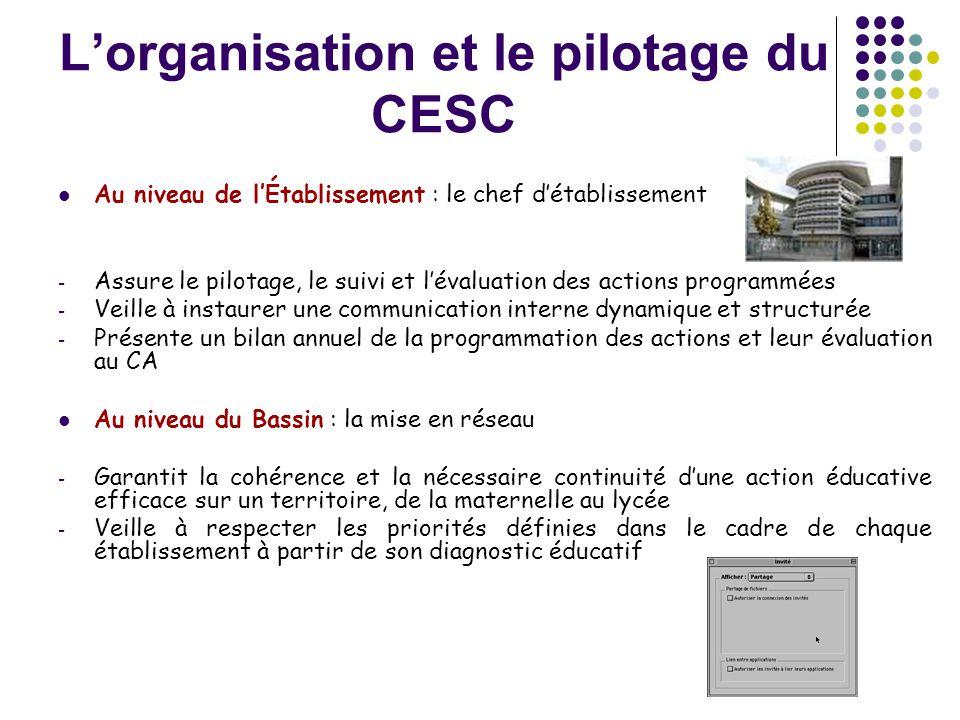 L'organisation et le pilotage du CESC  Au niveau de l'Établissement : le chef d'établissement - Assure le pilotage, le suivi et l'évaluation des acti