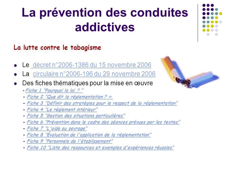 La prévention des conduites addictives La lutte contre le tabagisme  Le décret n°2006-1386 du 15 novembre 2006 décret n°2006-1386 du 15 novembre 2006