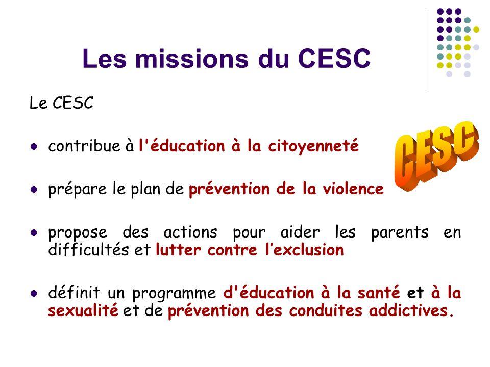 Les missions du CESC Le CESC  contribue à l'éducation à la citoyenneté  prépare le plan de prévention de la violence  propose des actions pour aide