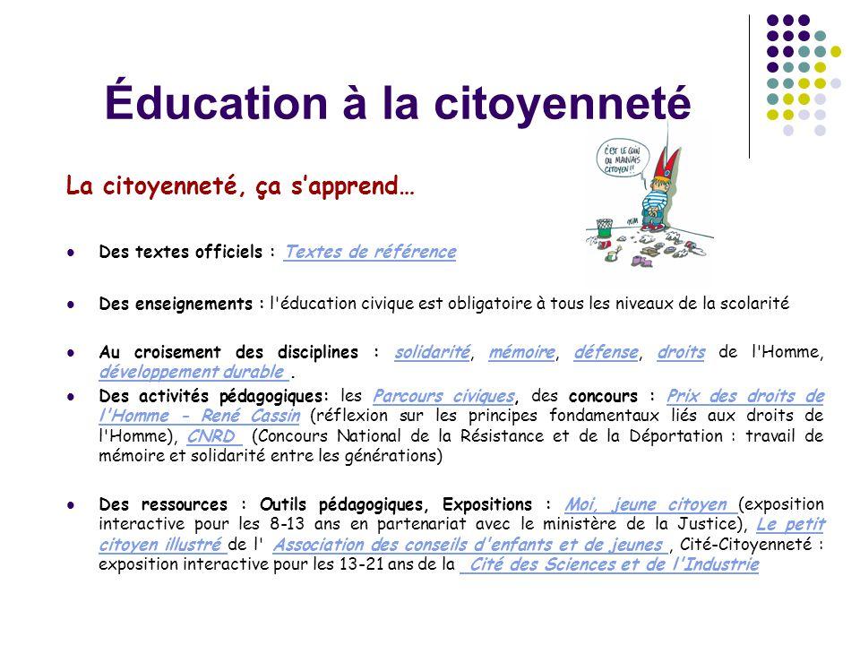 Éducation à la citoyenneté La citoyenneté, ça s'apprend…  Des textes officiels : Textes de référenceTextes de référence  Des enseignements : l'éduca