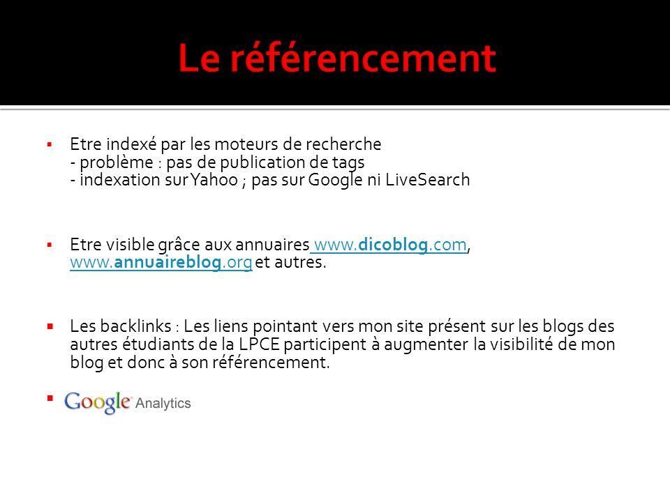  Etre indexé par les moteurs de recherche - problème : pas de publication de tags - indexation sur Yahoo ; pas sur Google ni LiveSearch  Etre visible grâce aux annuaires www.dicoblog.com, www.annuaireblog.org et autres.