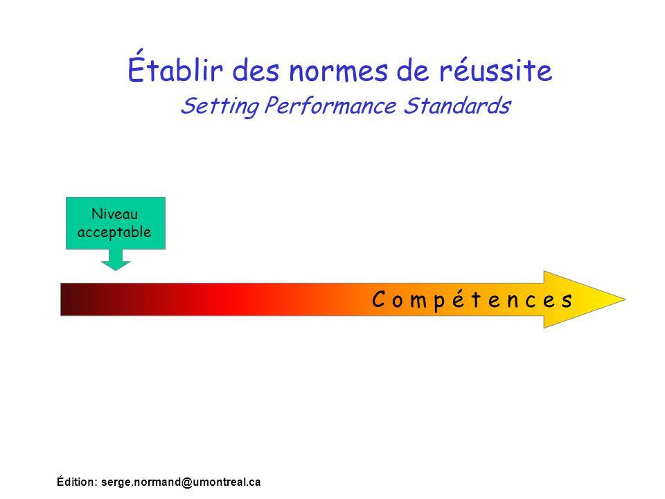 Édition: serge.normand@umontreal.ca Établir des normes de réussite Setting Performance Standards C o m p é t e n c e s Niveau acceptable