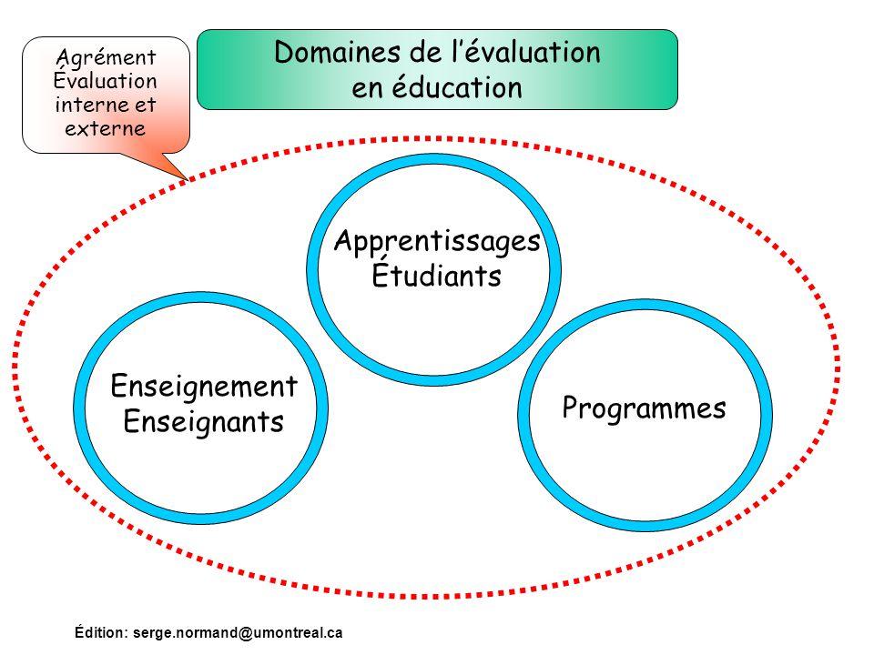 Édition: serge.normand@umontreal.ca Programmes Enseignement Enseignants Apprentissages Étudiants Agrément Évaluation interne et externe Domaines de l'évaluation en éducation