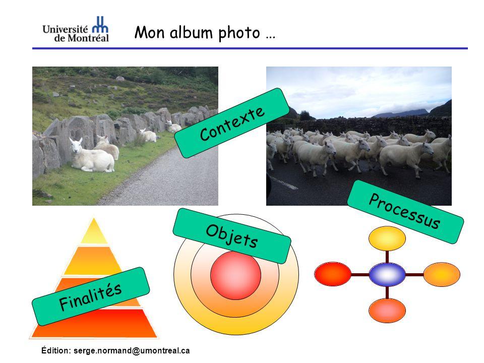 Édition: serge.normand@umontreal.ca Mon album photo … Contexte Objets Finalités Processus