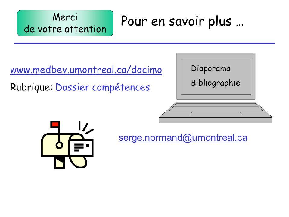 Pour en savoir plus … Diaporama Bibliographie www.medbev.umontreal.ca/docimo Rubrique: Dossier compétences serge.normand@umontreal.ca Merci de votre attention