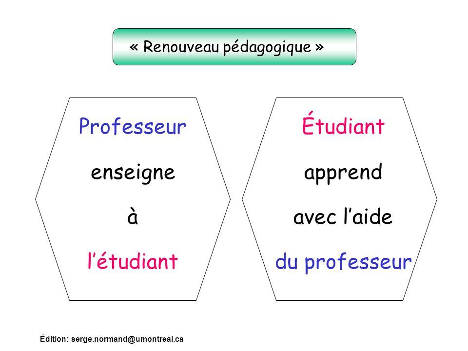 Édition: serge.normand@umontreal.ca Professeur enseigne à l'étudiant Étudiant apprend avec l'aide du professeur « Renouveau pédagogique »