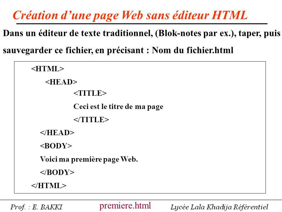 Ceci est le titre de ma page Voici ma première page Web. Création d'une page Web sans éditeur HTML premiere.html Dans un éditeur de texte traditionnel