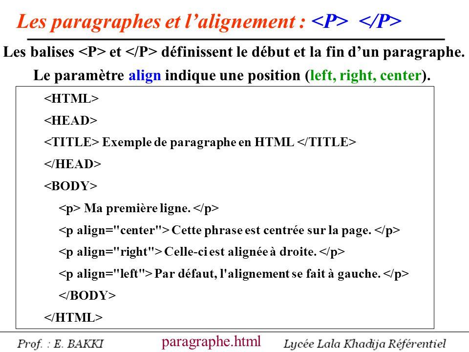 Exemple de paragraphe en HTML Ma première ligne. Cette phrase est centrée sur la page. Celle-ci est alignée à droite. Par défaut, l'alignement se fait