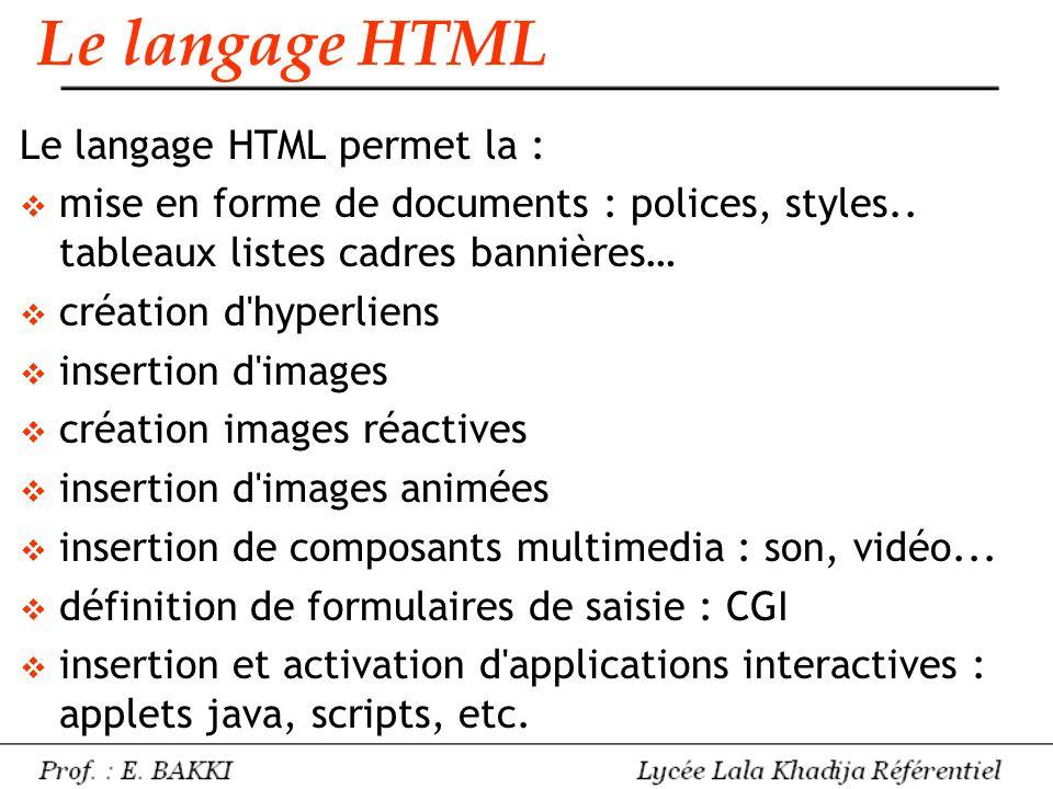 Le langage HTML permet la :  mise en forme de documents : polices, styles.. tableaux listes cadres bannières…  création d'hyperliens  insertion d'i