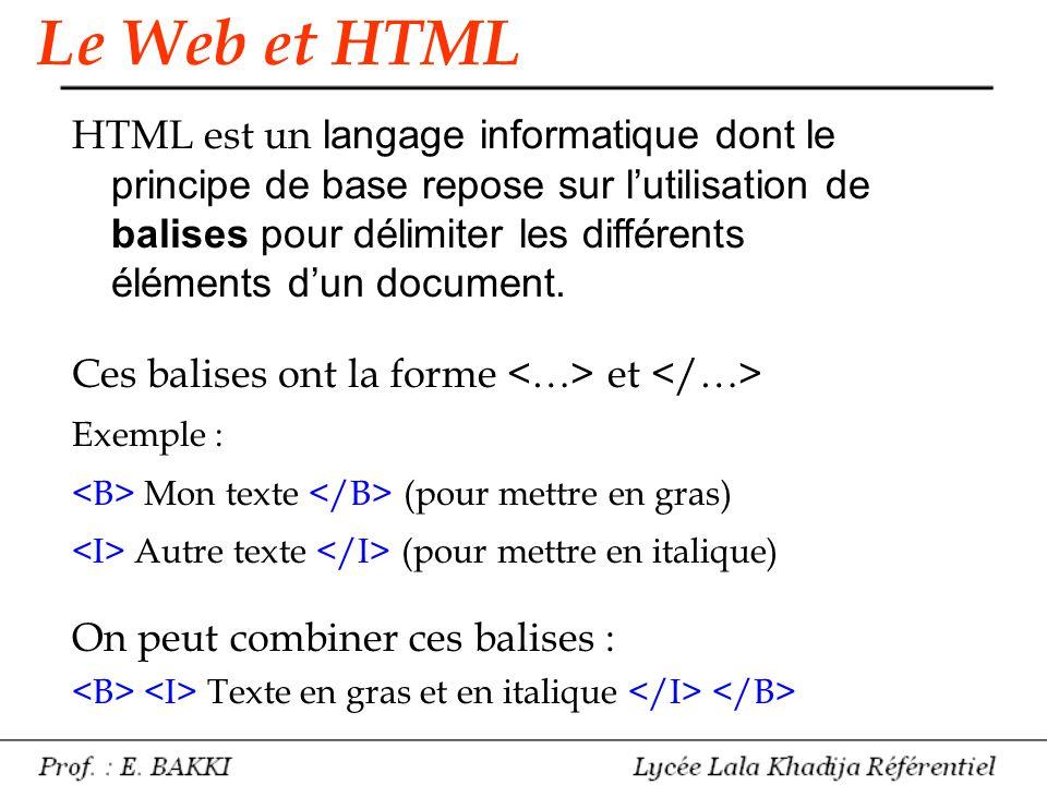 HTML est un langage informatique dont le principe de base repose sur l'utilisation de balises pour délimiter les différents éléments d'un document. Ce