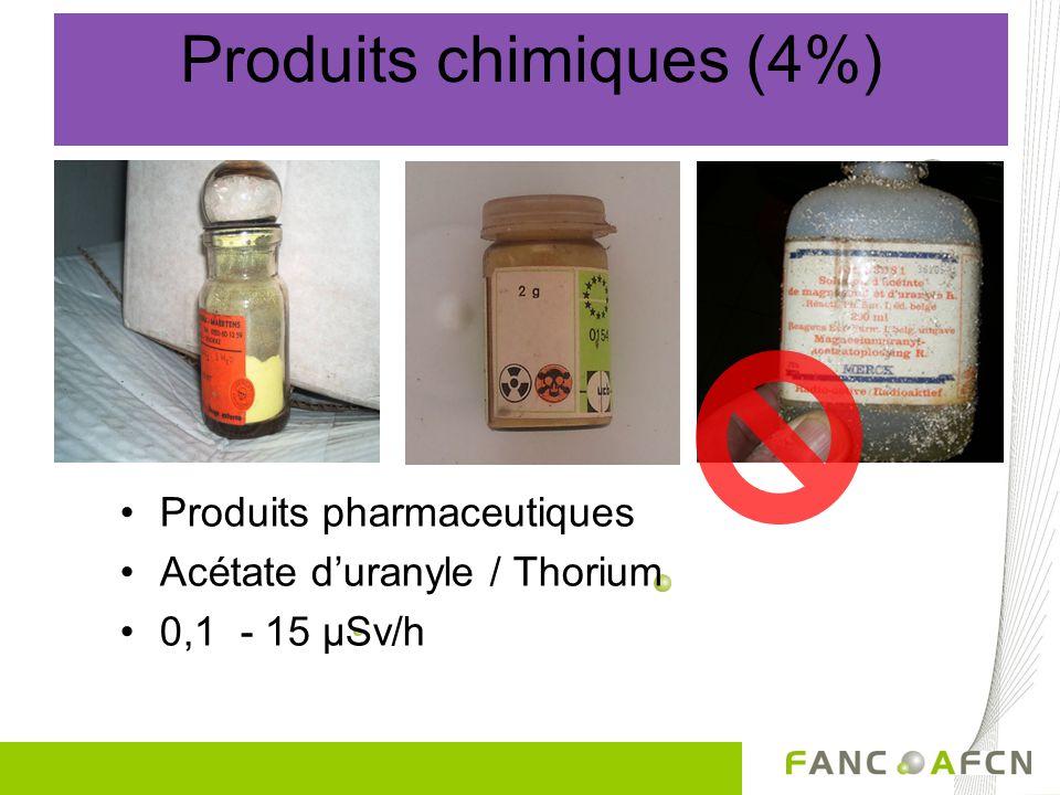 Produits chimiques (4%) •Produits pharmaceutiques •Acétate d'uranyle / Thorium •0,1 - 15 µSv/h