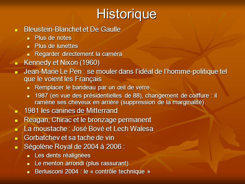 Historique  Bleustein-Blanchet et De Gaulle  Plus de notes  Plus de lunettes  Regarder directement la caméra  Kennedy et Nixon (1960)  Jean-Mari
