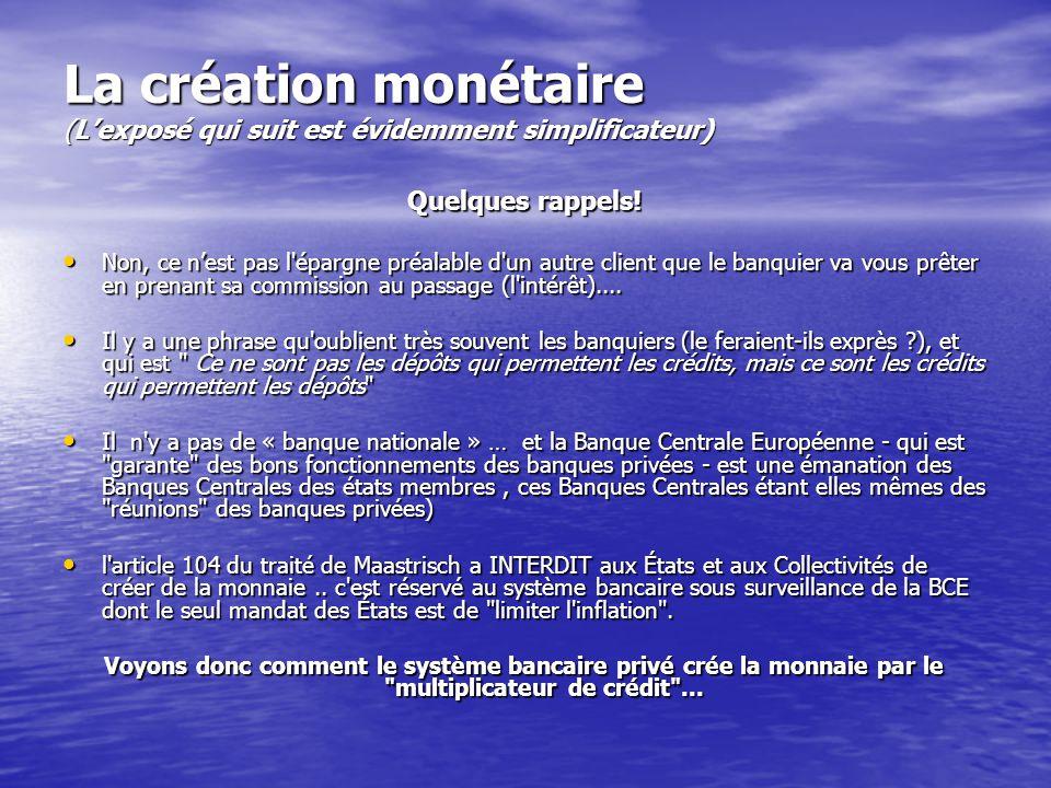 La création monétaire (L'exposé qui suit est évidemment simplificateur) Quelques rappels! • Non, ce n'est pas l'épargne préalable d'un autre client qu
