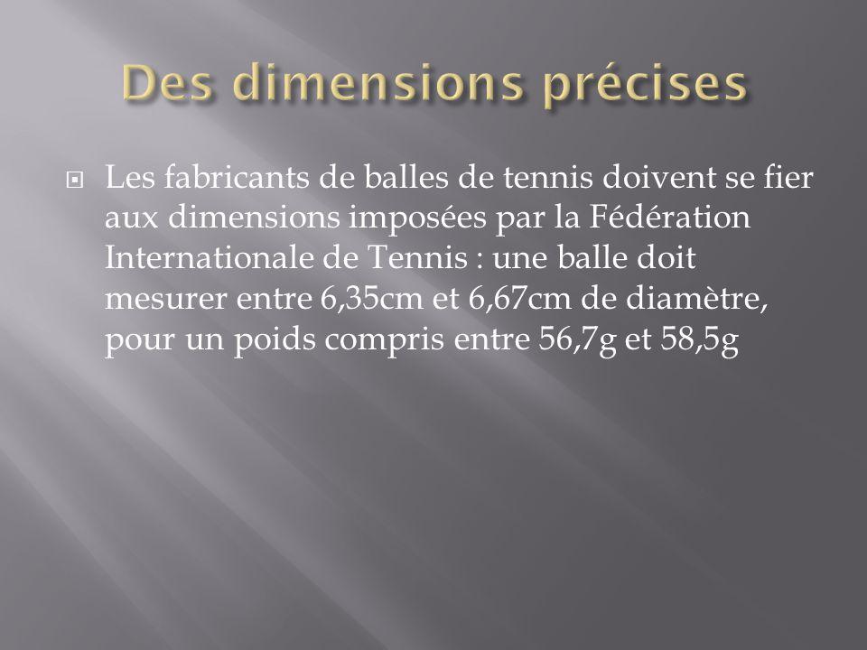  Les fabricants de balles de tennis doivent se fier aux dimensions imposées par la Fédération Internationale de Tennis : une balle doit mesurer entre