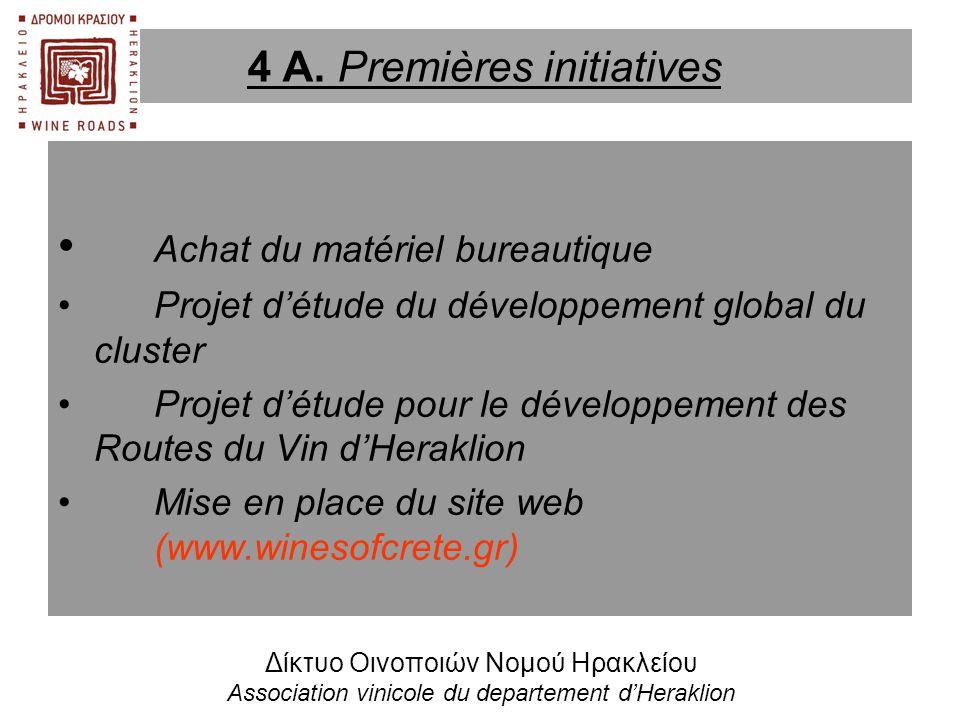 • Achat du matériel bureautique •Projet d'étude du développement global du cluster •Projet d'étude pour le développement des Routes du Vin d'Heraklion