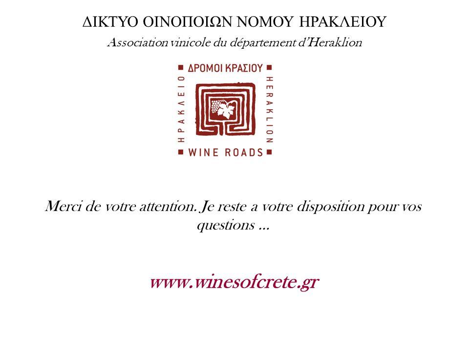 Merci de votre attention. Je reste a votre disposition pour vos questions … www.winesofcrete.gr ΔΙΚΤΥΟ ΟΙΝΟΠΟΙΩΝ ΝΟΜΟΥ ΗΡΑΚΛΕΙΟΥ Association vinicole